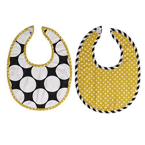 Bacati 2 Piece Dots/Pin Stripes with Yellow Pin Dots Bibs Set, Black/White - 1
