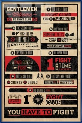 Fight Club – Framed Movie Poster / Print (Infographic) (Size: 24″ x 36″)