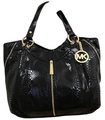 Michael Kors Moxley Md Shoulder Tote Black Python