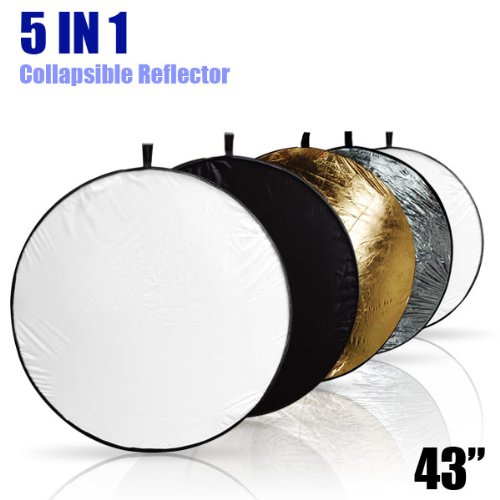LimoStudio 43″ Photography Photo Video Studio Lighting Disc Reflector, 5-in-1, 5 Colors, Black, White, Gold, Silver, Translucent, AGG808