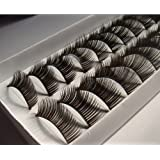 20 Pairs Black Long False Eyelashes Eye Lashes 111 Thick Dense Charming - MZZH07001