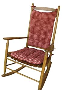 Rocking Chair Pad Set Britt Red Plaid Rocker Seat Cushion A
