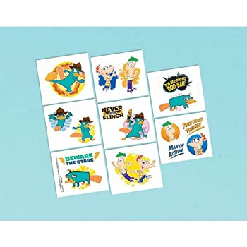 Phineas & Ferb Themed Tattoos. Includes one package of 16 removeable tattoos.