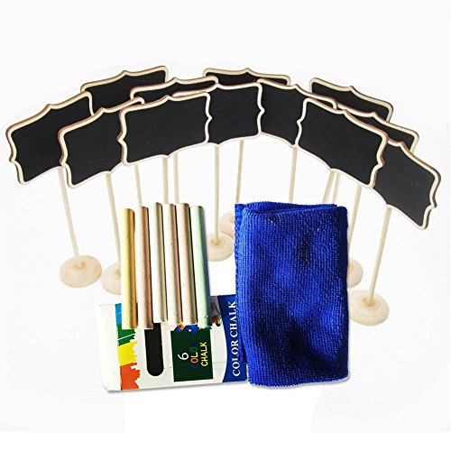 AYAOQIANG 12pcs Chalkboard ,6pcs Colorful Chalk with 1pc cleaning cloth Best for Wedding Dinner Party Table Place Card Signs (Large Chalkboard Table Numbers compare prices)