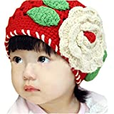 Urparcel Baby Girl Floral Earflap Hat Knitted Cap Knit Beret Winter Scarf Beanie