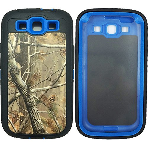 For Samsung S3 Case - Galaxy S3 Case - 3 Layers Heavy Duty Defender Series Natural Realtree Camo Military Grade Shock Absorbent Scratch Impact Resistant Tough Hybrid Armor Protective Case w Built-in Screen Protector for Samsung Galaxy S3 i9300 Dark Blue Tree