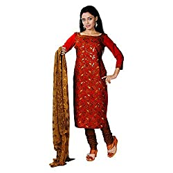 S.V.G. Suit Material With Sequined Work - (Red)