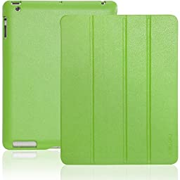 INVELLOP Gecko Green Leatherette Cover Case for iPad 2 / iPad 3 / iPad 4 (Built-in magnet for sleep/wake feature) iPad 2 case