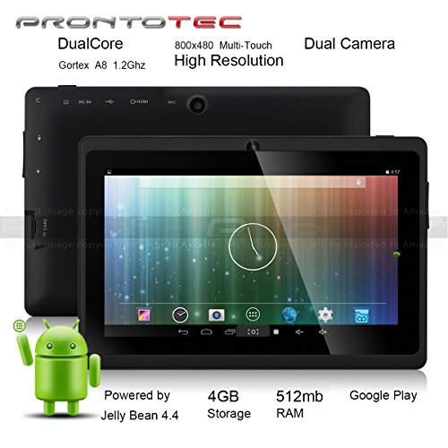 Prontotec Axius New Version 7 Updated Android 4.4 Tablet Pc, Cortex A8 Dual Core Processor 1.2GHz, 512MB / 4GB, Dual Camera, G-sensor,Google Play Pre-loaded (Black)