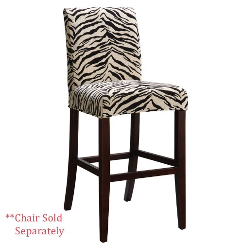 Powell White and Onyx Tiger Striped Slip Over for Counter Stool or Bar Stool