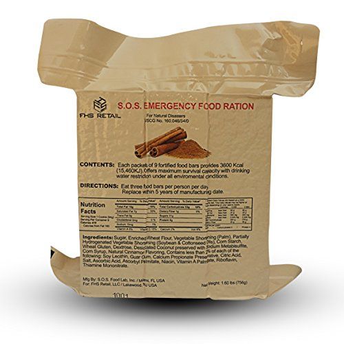 S.O.S. Rations Emergency 3600 Calorie Cinnamon Flavor Food Bar - 3 Day / 72 Hour Package - 3 Packs (Emergency Dry Food compare prices)