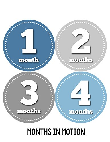 Months in Motion 052 Monthly Baby Stickers Baby Boy Month 1-12 Milestone Sticker