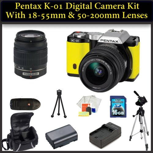 Pentax K-01 Digital Camera Double Lens Kit. Package Includes: Pentax K01 with 18-55mm & 50-200mm Lenses(Yellow), 16GB Memory Card, Memory Card Reader, Extended Life Replacement Battery, Rapid Travel Charger, 50
