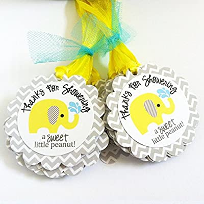 Thanks for Showering Yellow and Grey Elephant Favor Tags for Baby Shower Party Celebration - Set of 12