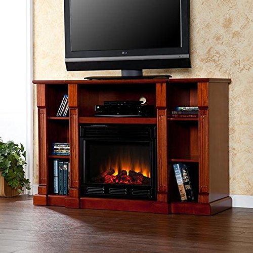 Kendall Media Fireplace, 35Hx52W, Mahogany