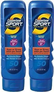 Coppertone Sport Lotion SPF 50 Sunscreen & Antioxidants-8 oz, 2 pk