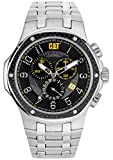 Cat Navigo Carbon Chrono Men's Quartz Watch with Black Dial Analogue Display and Silver Stainless Steel Bracelet A5.143.11.111