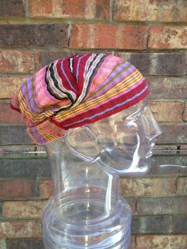 Inspirit Arts Large Peach Maroon Headband Expandable Handwoven Open Net Weave Lightweight Bandana Headwrap Elastic 100% Cotton Hair Scarf front-385098