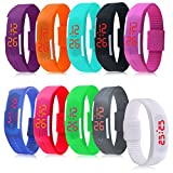 Padgene Lots Of 10 Silicone Rubber Gel Jelly Unisex LED Wrist Watch Bracelet