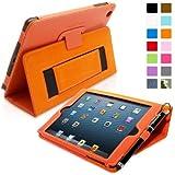 Snugg iPad Mini & Mini 2 Case - Smart Cover with Flip Stand & Lifetime Guarantee (Orange Leather) for Apple iPad Mini & Mini 2 with Retina