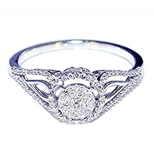 0.25ct Diamond Vintage Engagement Bridal Ring 8mm Wide 10K White Gold by MidwestJewellery