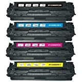 Full Set of Remanufactured HP 128A (CE320BK/CE321C/CE322Y/CE323M) Toner Cartridges for HP LaserJet Pro CM1415fnw CP1525nw Printer - 4 Pack