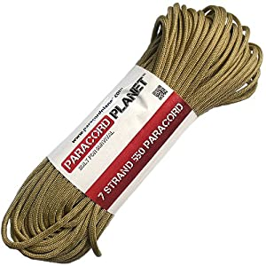 Paracord Planet 100' 550lb Type III Gold Paracord