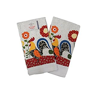 4 Piece Red White Rooster Kitchen Towel Set
