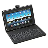 SQdeal® Black PU Synthetic Leather Wired keyboard case cover stand for Toshiba Thrive AT100 AT105 / Toshiba Excite 10 AT300 AT305