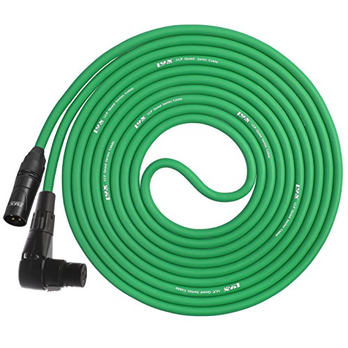LyxPro - 20 Ft - XLR Male to Right Angle Female Star Quad Microphone Cable for High End Quality and Sound Clarity, Extreme Low Noise - Green (High End Mixers compare prices)