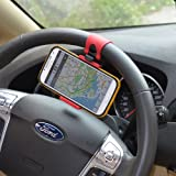 Multi-functional mobile phone Holder / Mount / Clip / Buckle Socket Hands Free on Car Steering Wheel - Providing Better View Access to Your Phone (max screen size 4.8inch) for iPhone 5/5G/ 4/4S,HTC, Samsung Galaxy, PDA and Smart Cellphones
