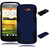 Bastex Heavy Duty Hybrid Case for HTC One S Z520e - Black Silicone / Blue Hard Mesh Shell