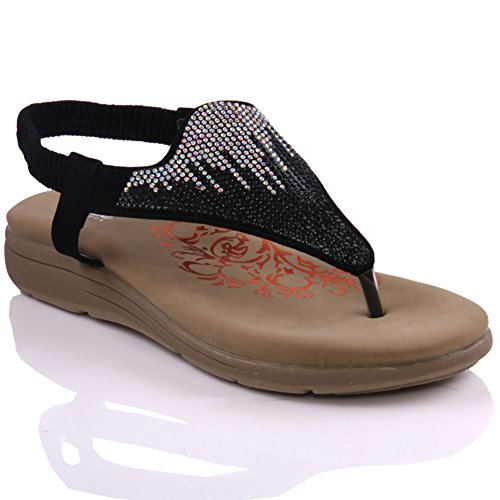 Unze Womens 'Titly' Decorated Wedge Thong Sandals - 6K5531-22