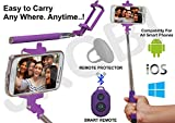 Selfie Stick Monopod with Bluetooth Remote Wireless Shutter Connectivity Compatible For LenovoVibe K4 Note -Purple