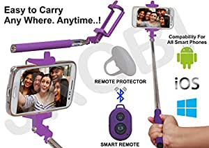 Selfie Stick Monopod with Bluetooth Remote Wireless Shutter Connectivity Compatible For Alcatel One Touch POP C9 -Purple