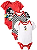 Disney Baby Baby-Boys Newborn Running Mickey 3 Pack Bodysuit, Multi, 0-3 Months