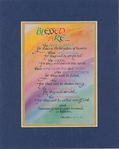 Blessed Are . . . 8 X 10 Inches Biblical/Religious Verses Set In Double Beveled Matting (Blue On Gold) - A Timeless And Priceless Poetry Keepsake Collection