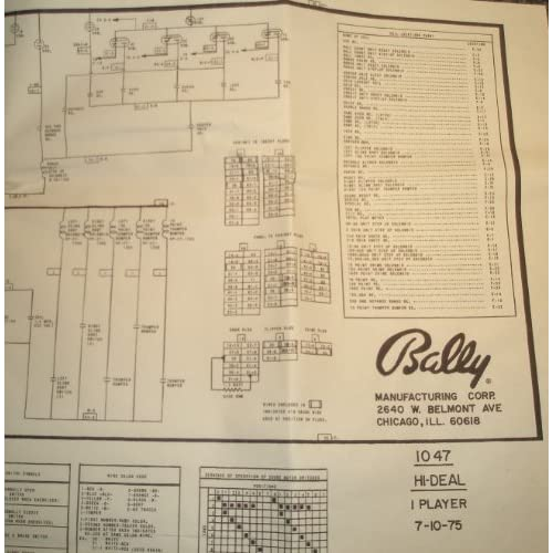 Hi-Deal Pinball Full Size Manual Schematic 5' x 3': Bally: Amazon.com