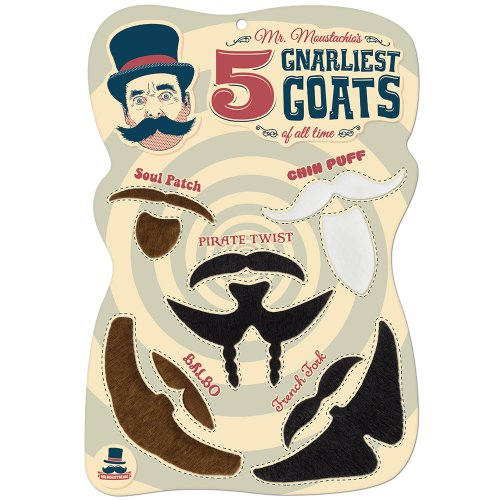 Mr. Moustachio's Five Gnarliest Goats of All Time, Fake Goatee Costume Party Assortment