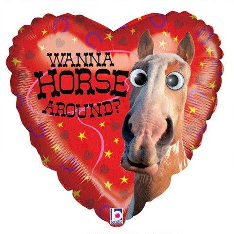 """Wanna Horse Around? Google Eyes 21"""" Mylar Balloon - 1"""