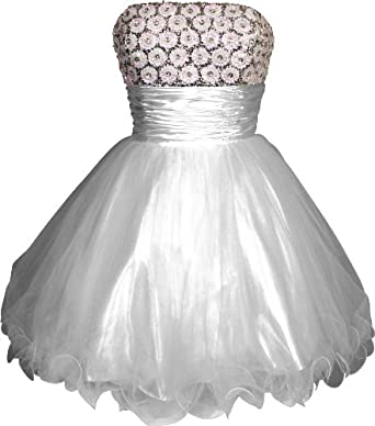 Beaded Sequin Mesh Party Mini Dress Prom Holiday, Medium, White