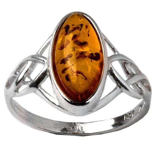 Baltic Light Honey Amber Sterling Silver Celtic Ring Cabochon Size 6x12mm