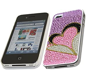 iTALKonline FunkGem SILVER PURPLE BLACK PINK HEART Diamonte Crystals Super Hydro Gel Protective Armour/Case/Skin/Cover/Shell for Apple iPhone 4 4G HD