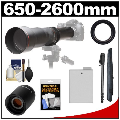 Vivitar 650-1300Mm F/8-16 Telephoto Lens (Black) With 2X Teleconverter (=2600Mm) + Lp-E8 Battery + Monopod + Accessory Kit For Canon Rebel T3I, T4I, T5I Dslr Cameras