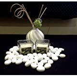 Christmas Decorations - Coconut Fragrance Square Glass Wax Candles - Set Of 2