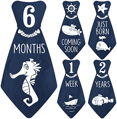 NEW! Original Stick'Nsnap (TM) 18 Baby Monthly Necktie Onesie Stickers -