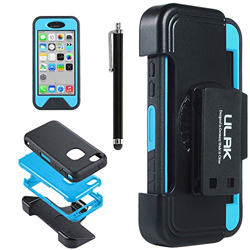 Iphone 5C Case, Ulak Heavy Duty High Impact Case Cover For Apple Iphone 5C Shockproof Dirtproof Hard Inner Case + Tpr Defender + Belt Clip Holster + Stylus + Screen Protector (Tpr-Blue)