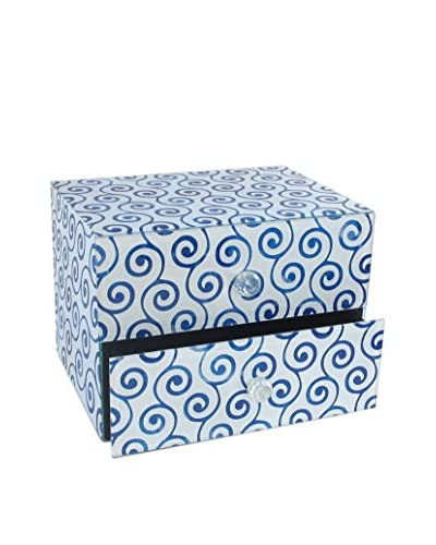 American Atelier Swirl 2-Drawer Jewelry Box, Blue