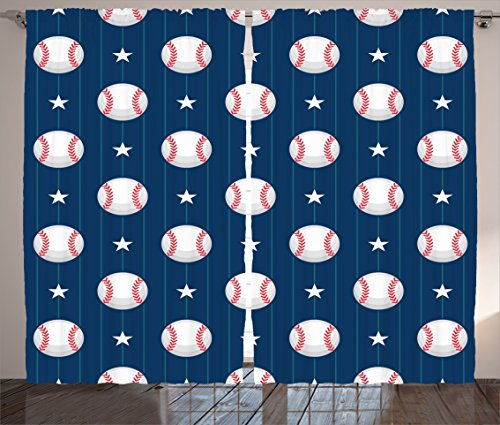 Ambesonne Sports Decor Collection, Baseball Patterns on Vertical Striped Background Stars Artistic Design Pattern, Living Room Bedroom Curtain 2 Panels Set, 108 X 84 Inches, Navy Blue White Red