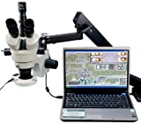OMAX 3.5X-90X Digital Zoom Articulating Arm Trinocular Stereo Microscope with USB Camera and 54 LED Ring Light image